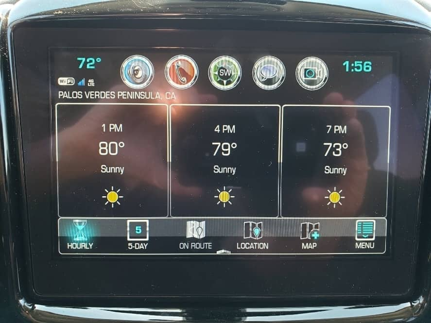 8-inch touchscreen projecting the weather forecast