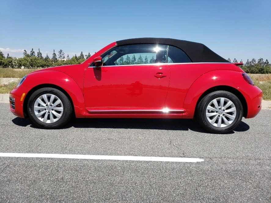 Red2019 VW Beetle Convertible w. top up driver profile