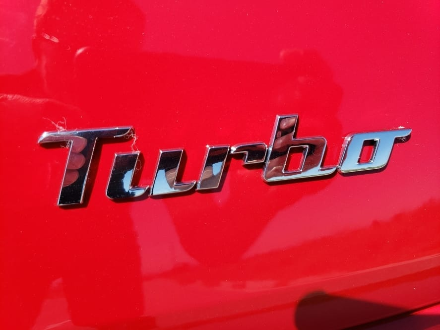 Red 2019 VW Beetle Turbo badge
