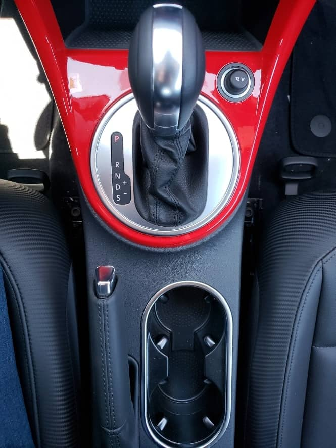 Red 2019 VW Beetle center console