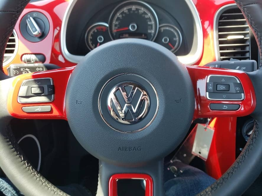 Red 2019 VW Beetle steering wheel
