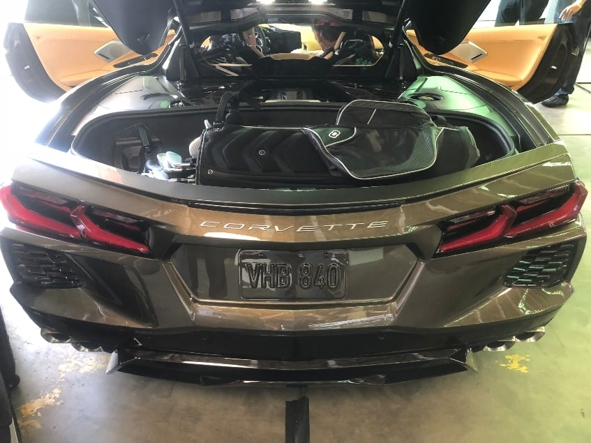 2020 Chevrolet Corvette Stingray cargo area w. golf clubs