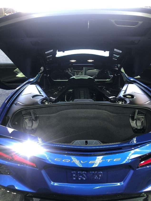 Blue 2020 Chevrolet Corvette Stingray cargo area