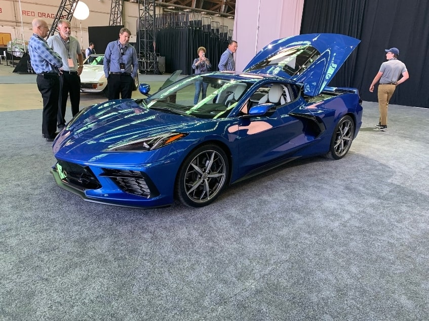 Blue 2020 Chevrolet Corvette Stingray dealer reveal