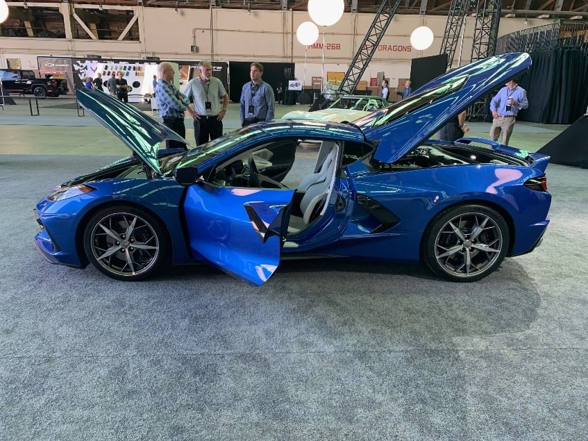 Blue 2020 Chevrolet Corvette Stingray driver profile all opened