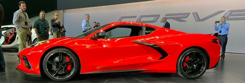 Red 2020 Chevrolet Corvette Stingray driver profile car dealer reveal banner