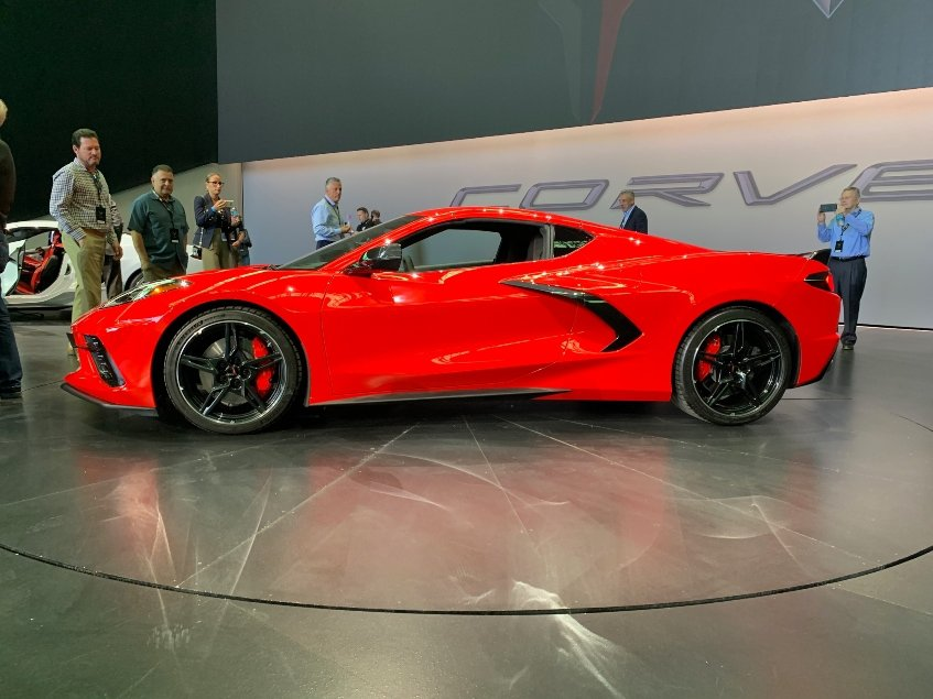 Red 2020 Chevrolet Corvette Stingray driver profile car dealer reveal