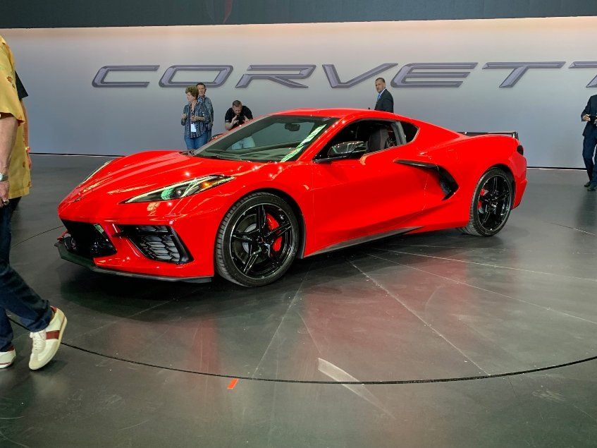 Red 2020 Chevy Corvette Stingray car dealer reveal