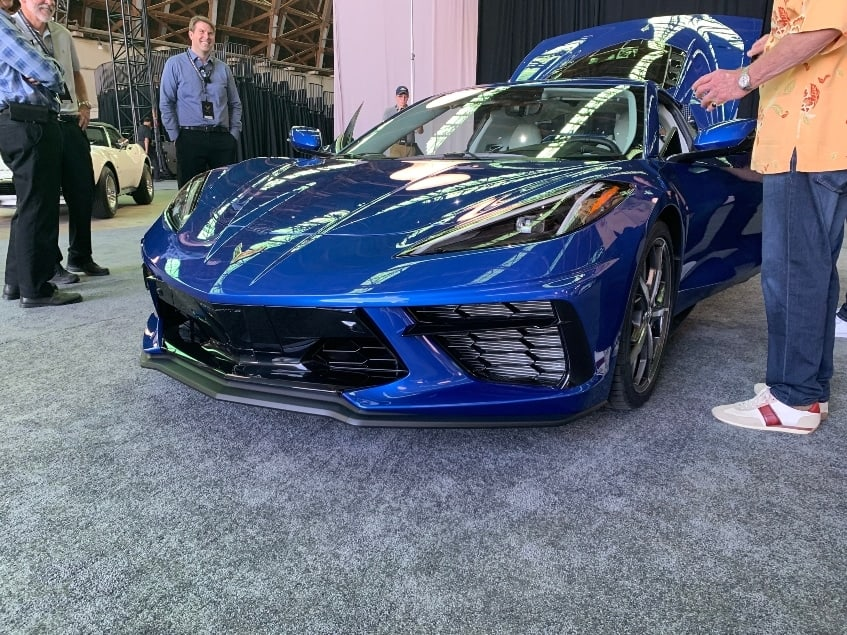 Blue 2020 Chevy Corvette Stingray dealer reveal