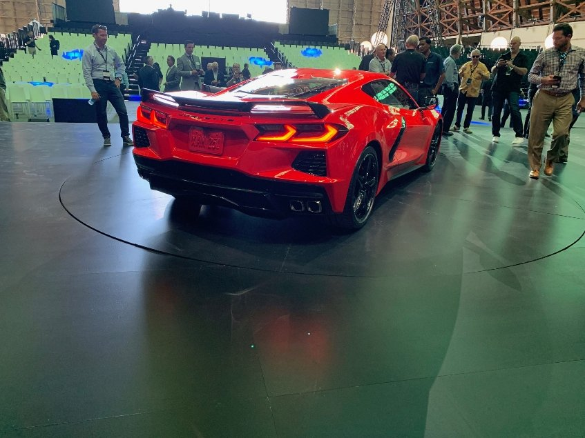 Red 2020 Chevy Corvette Stingray passenger rear car dealer reveal