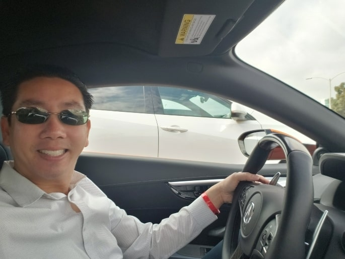 Professor in the driver's seat at the Long Beach Grand Prix