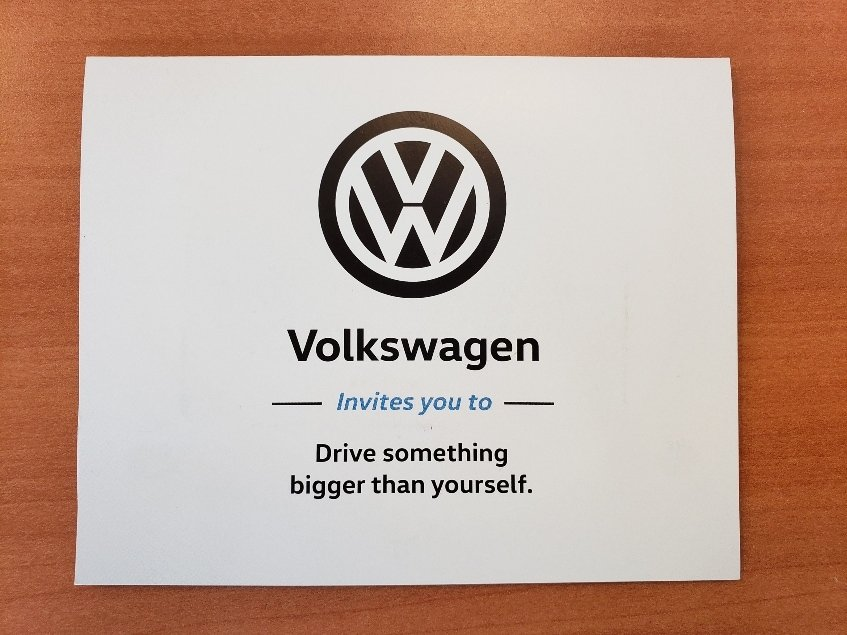 VW Drive Bigger Donation Envelope front