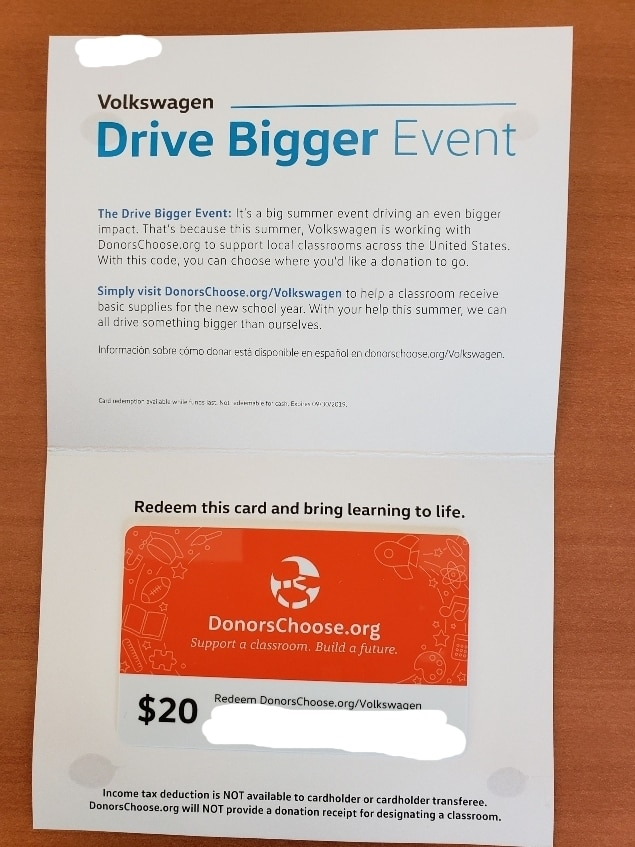 Drive Bigger folded donation card