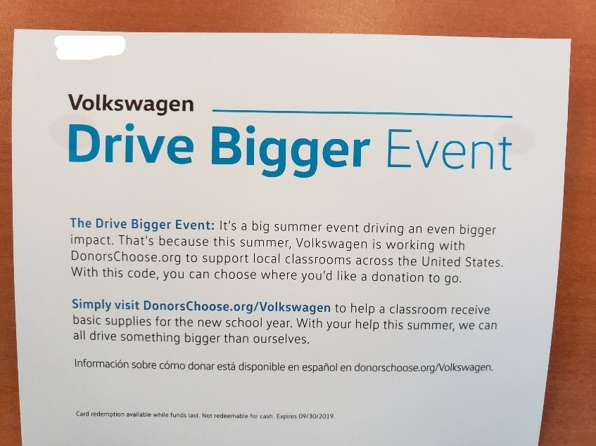 Drive Bigger top half of paper donation card