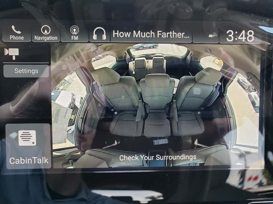 Rear cabin displayed on center console monitor