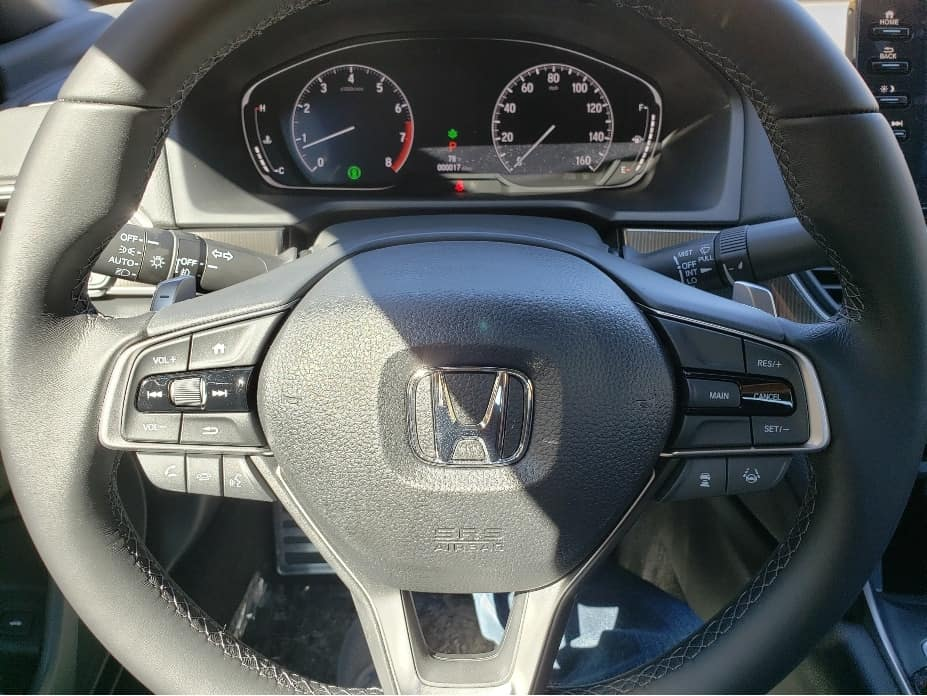 2020 Honda Accord instruments. steering wheel and paddle shifters