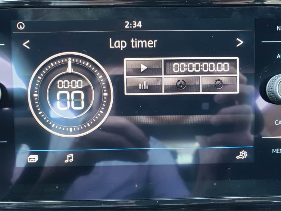2019 Volkswagen Golf R lap timer on center stack screen