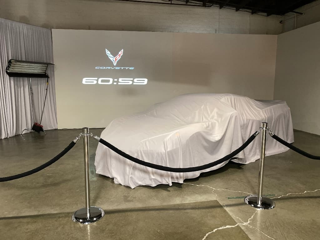 Covered 2020 Chevrolet Corvette with reveal countdown clock
