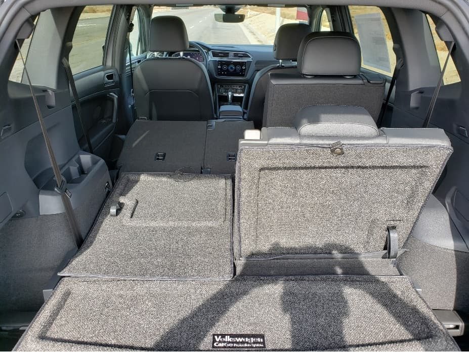 2020 VW Tiguan cargo area with 2nd and 3rd row seats partially down