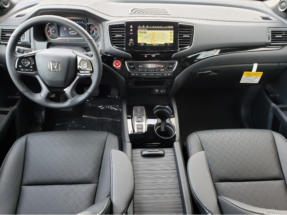 2020 Honda Passport front seats and dash from backseat