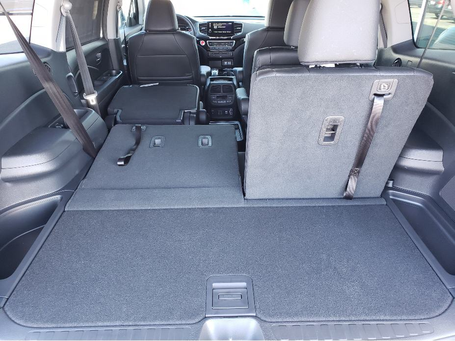 2020 Honda Pilot cargo area with backseats partial down