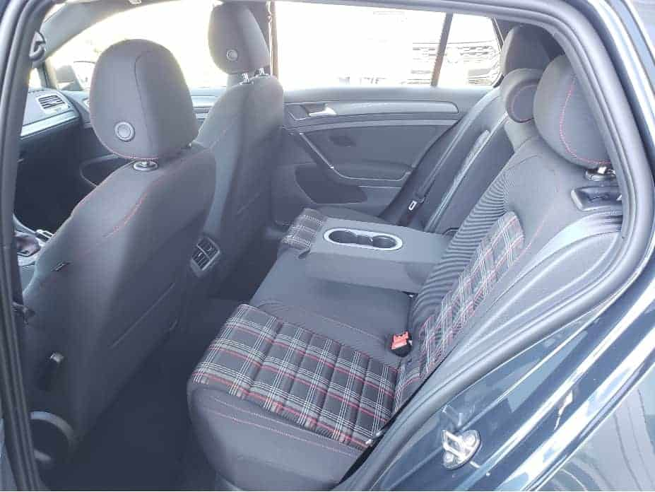 plaid rear seats with armrest down - 2020 VW Golf GTI