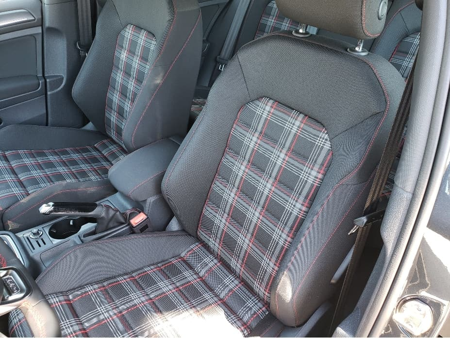 bolsters with gray fabric and plaid GTI seats