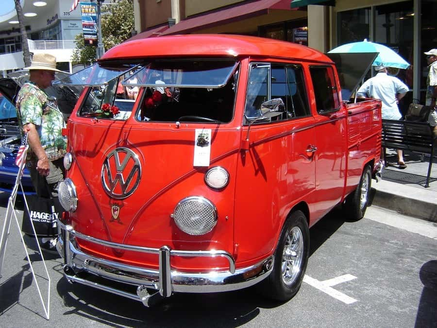 Classic red VW Micro-Bus Truck at Cruisin' Brea Car Show