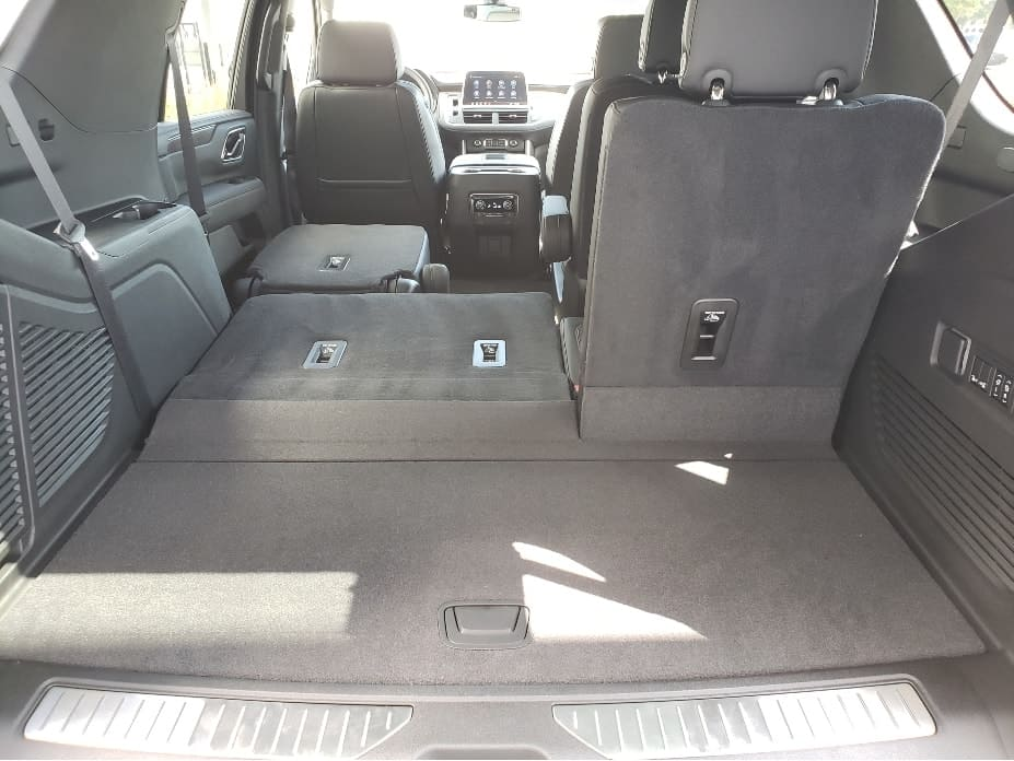 2021 Chevy Tahoe cargo area w. 2nd _ 3rd row seats partial down