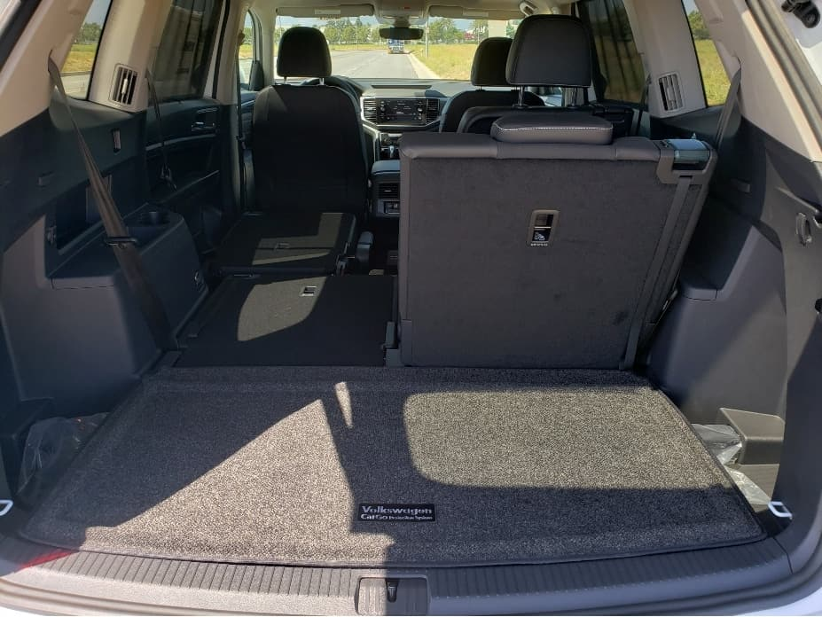 2021 VW Atlas cargo area w. backseats partial down lots of space for best family car