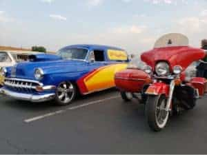 Hot rod and Harley at Cars And Coffee Valencia