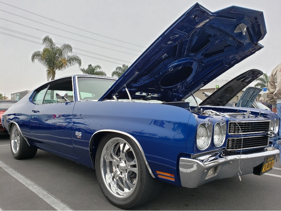 Donut Derelicts blue Chevelle customized with hood popped