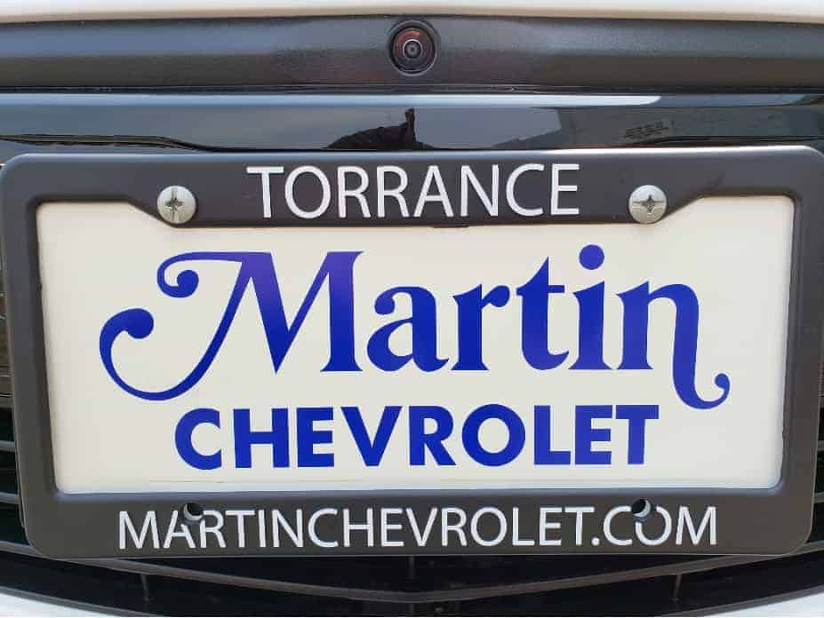 License plate holder and insert with Martin Chevrolet logo
