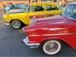 Saturday Morning Car Corral Covina - line-up of classics and hot rods