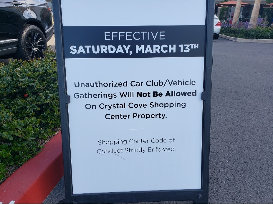 Crystal Cove Cars And Coffee Canceled - sign