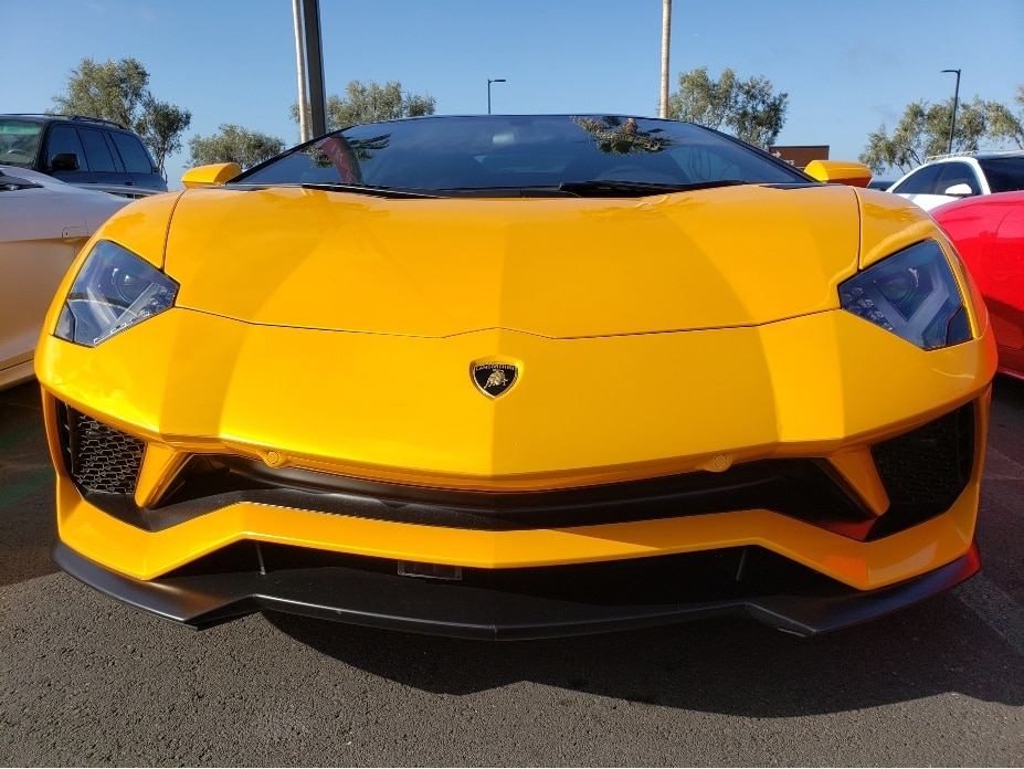 Crystal Cove Cars And Coffee canceled yellow Lambo front