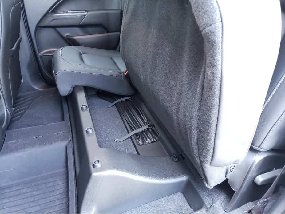 2021 Chevy Colorado backseat storage area