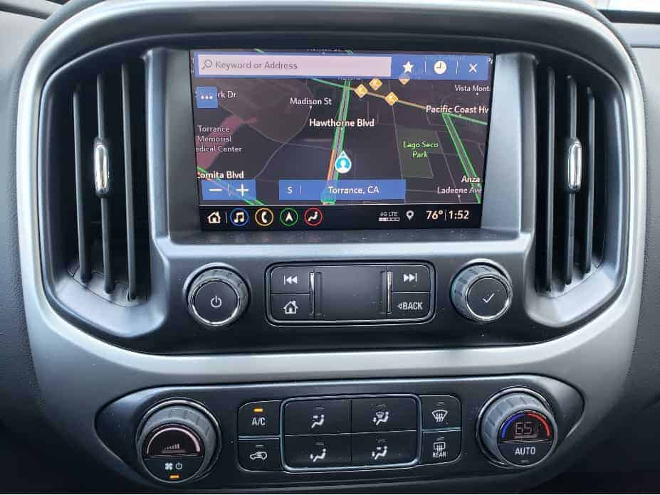 infotainment monitor and climate controls