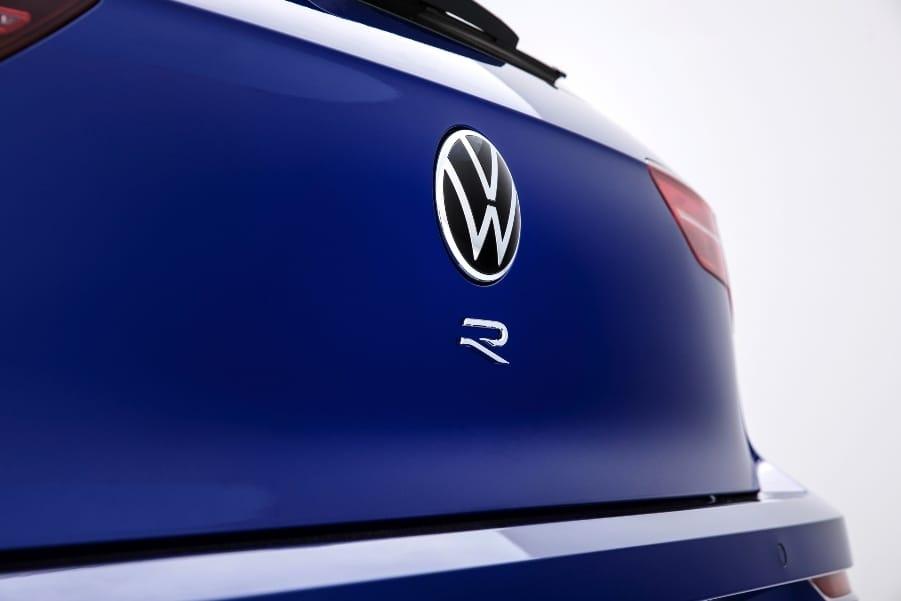 Blue 2022 VW Golf R rear