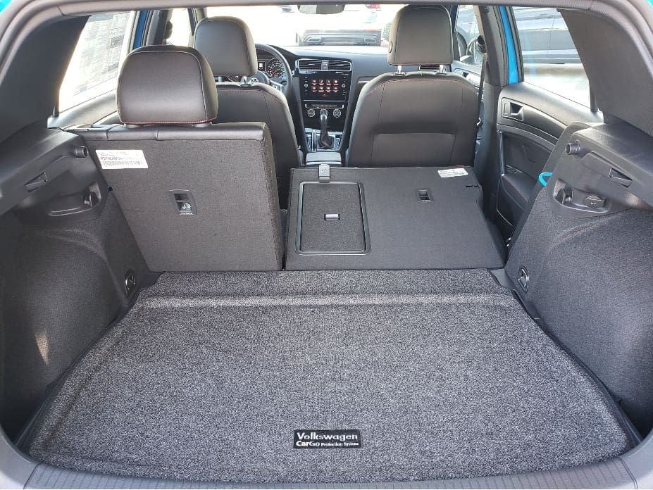 2021 VW Golf GTI cargo area w. backseat partial down