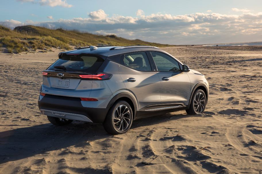 2022 Chevy Bolt EUV passenger rear angle parked on empty beach