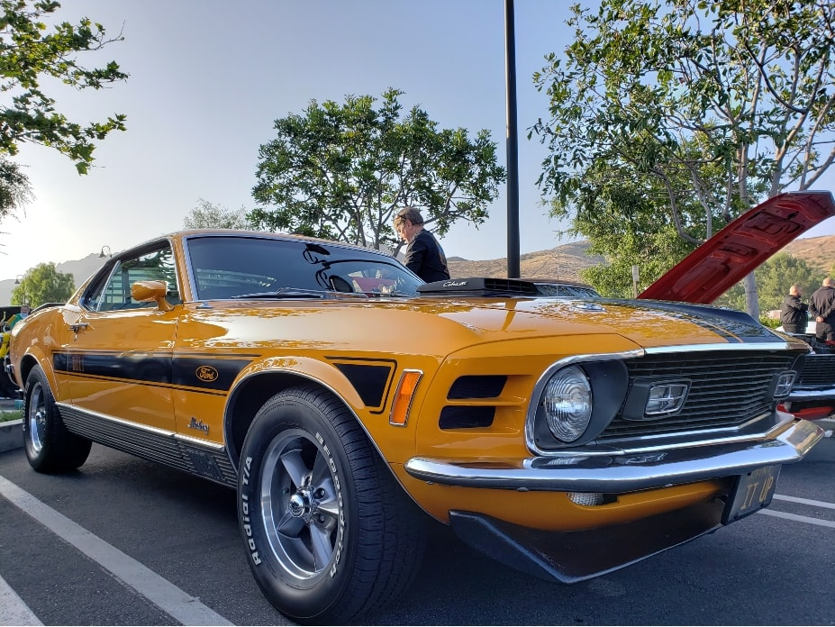 Coffee And Cars Westlake Village orange '70s Mustang