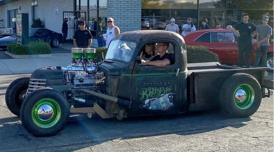 Riverside Cars And Coffee black stepside pick-up truck hot rod with green wheels and no hood