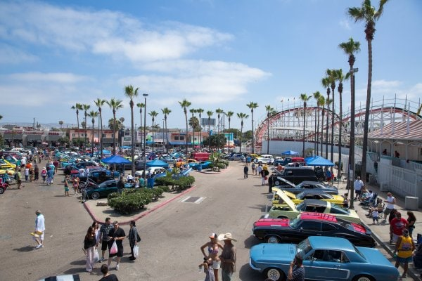 Belmont Park Father's Day Car Show aerial landscape picture of cars on display people and amusement park rides