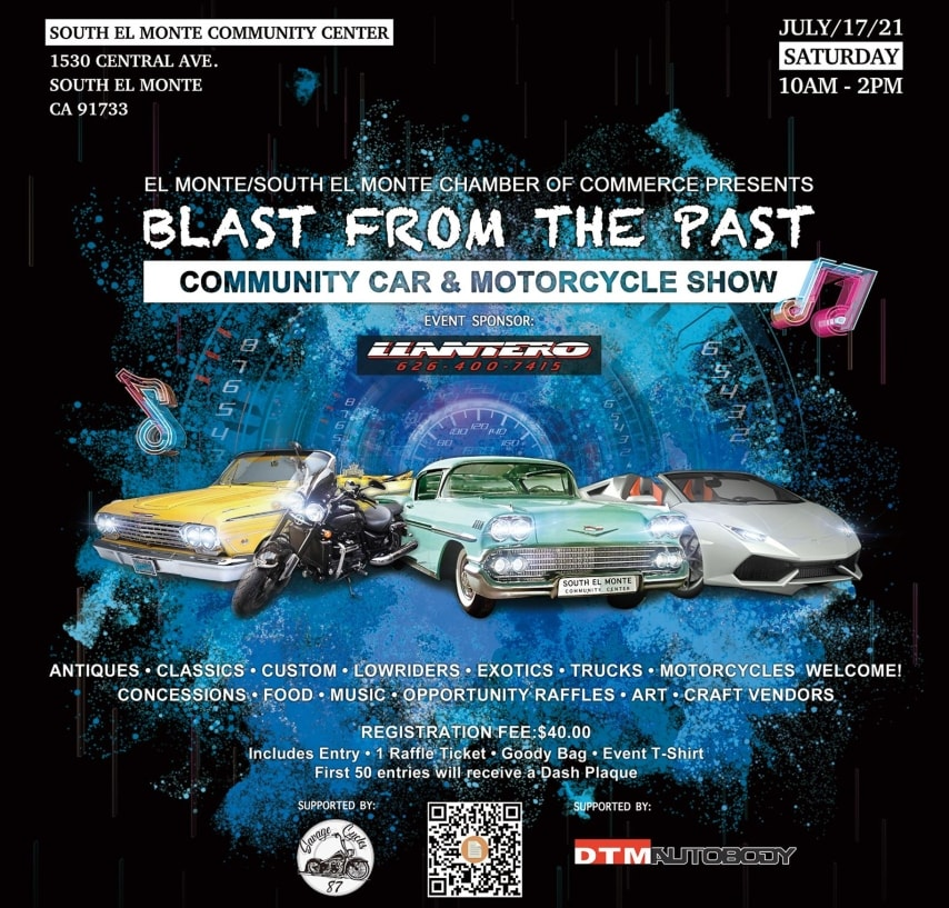 Blast From The Past Community Car And Motorcycle Show flyer with images of cars and a motorcycle