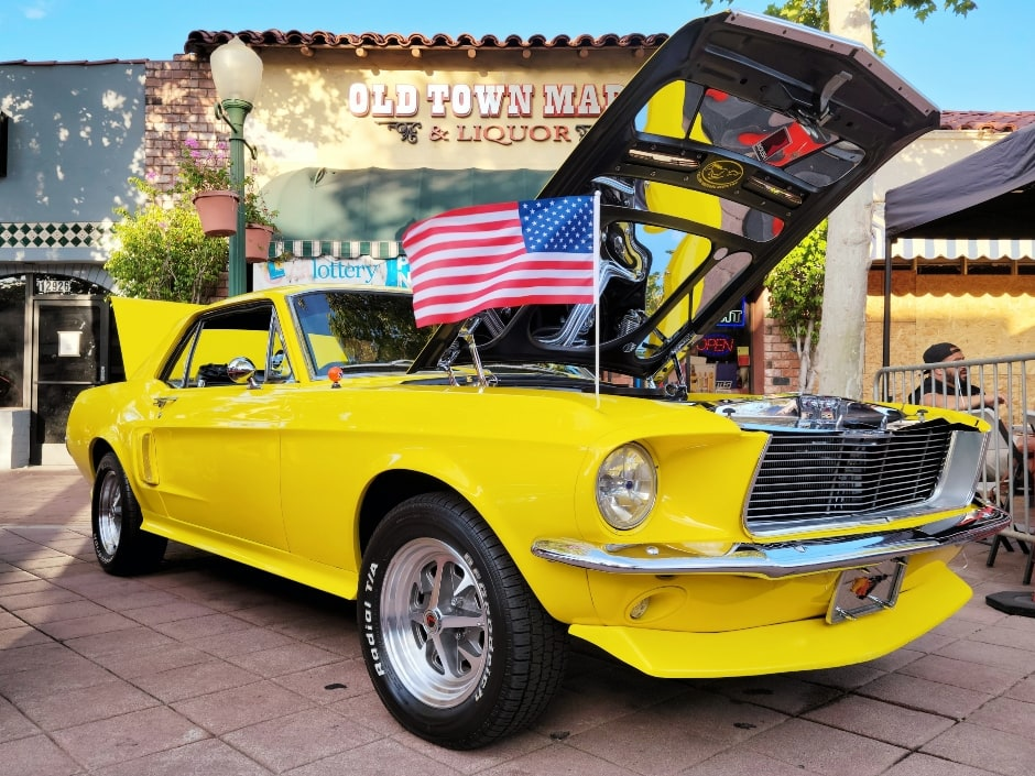 Main Street Classic Car Show - Yellow custom Mustang with good popped