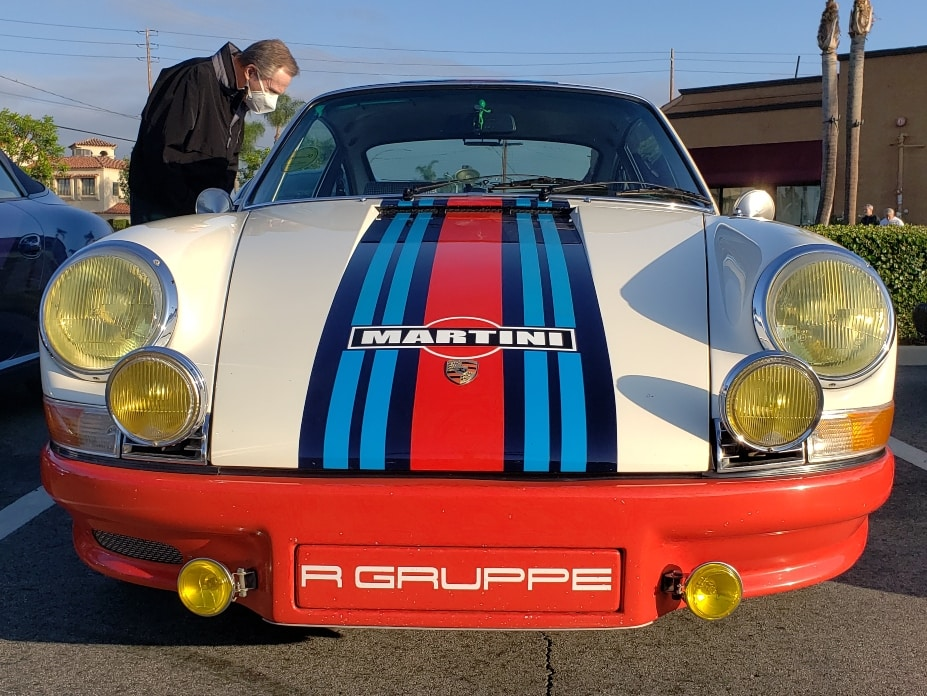 Enderle Cars And Coffee front Porsche with Martini race marks
