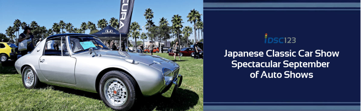 Toyota Sports 800 gray pictured in iDriveSoCal Podcast 123 banner for the Japanese Classic Car Show - part of the Spectacular September of Auto Shows