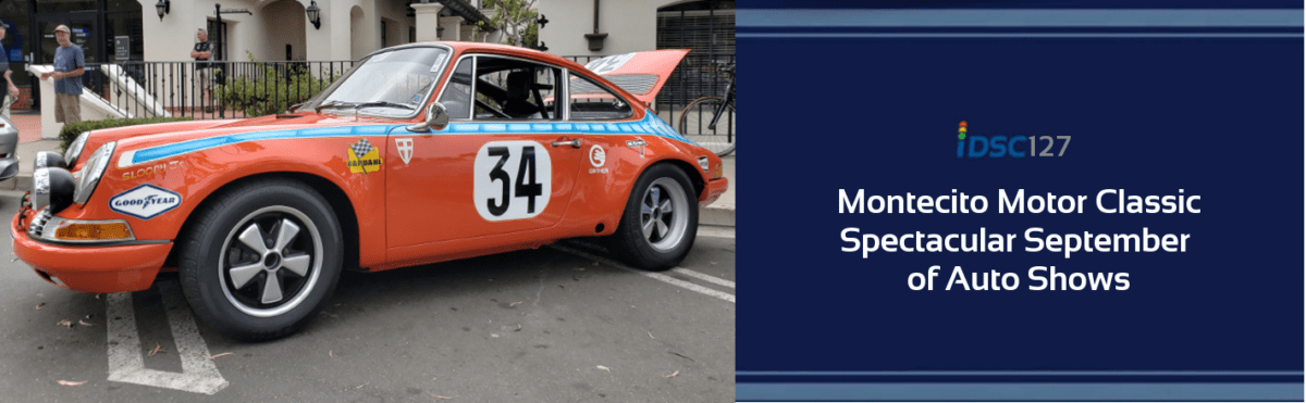 Orange 1971 Porsche 911 with blue racing stripe and number 34 on the side pictured in iDriveSoCal Podcast 127 banner for Montecito Motor Classic